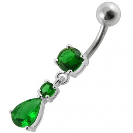 Moving Jeweled Teardrop Navel Ring