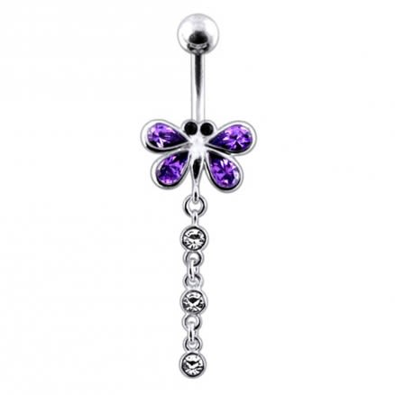 Moving Jeweled Dragonfly Belly Ring