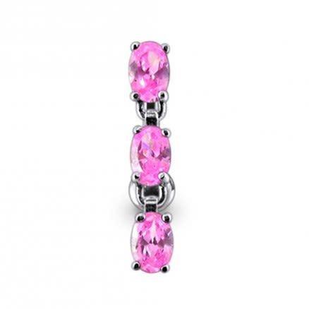 14 Gauge SS Moving Jeweled Charms Navel Ring