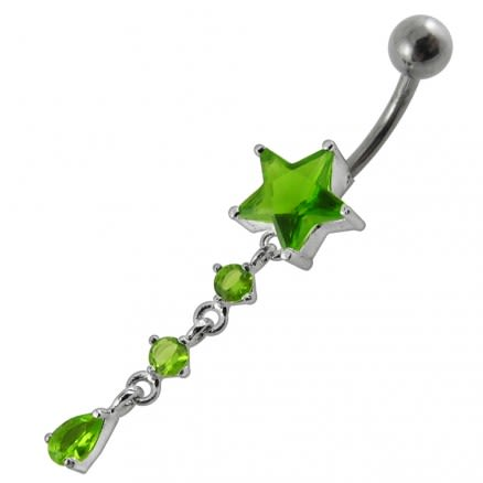 Moving Jeweled Star Charm Navel Ring