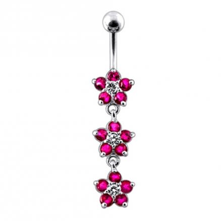 Moving Jeweled Flower Navel Belly Button Ring