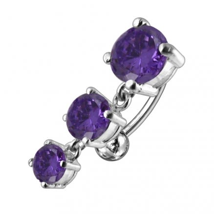 Moving Jeweled Charms Curved Bar Navel Ring