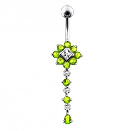 Moving Multi Jeweled Flower Navel Curved Bar Ring