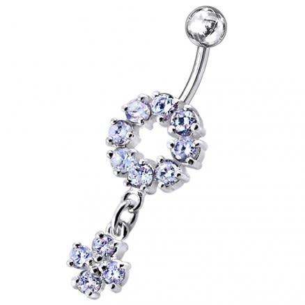 Fancy Dangling jeweled Blue Stone Studded Banana Bar Navel Ring