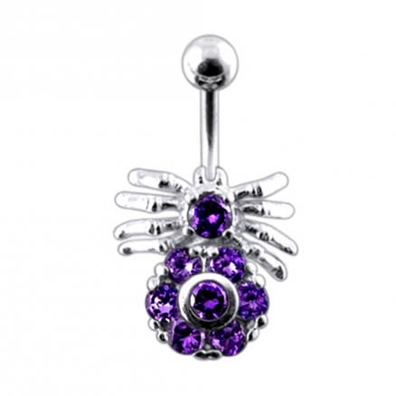 Fancy Spider Design Jeweled Belly Ring With Banana Bar Body Jewelry