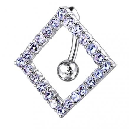 Moving Jeweled Diamond Designed Navel Ring