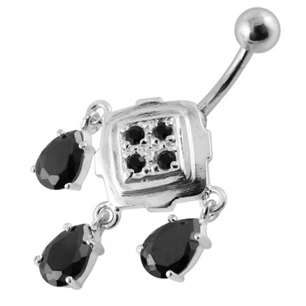 Fancy Jeweled Dangling Navel Body Jewelry