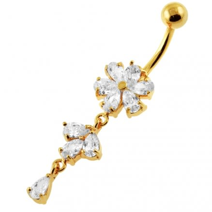 14G 10mm Yellow Gold Platted Silver Clear Jewel Moving Flower Design Belly Ring