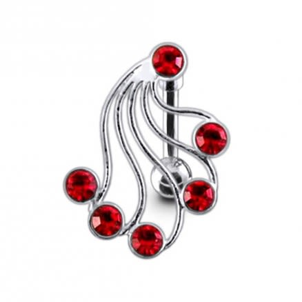 Moving Jeweled 5mm Ball Fancy Bananan Bar Belly Ring