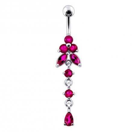 Moving Jeweled Flower Design Navel Body Jewelry