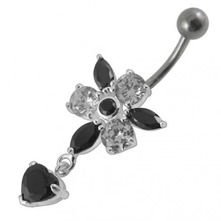 Moving Jeweled Flower Designed Navel Ring