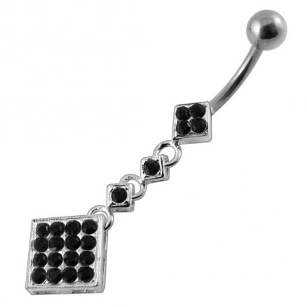 Moving Jeweled Fancy Surgical Grade Steel curved bar Belly Ring