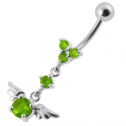Moving Fancy Multi Gems Curved Bar Navel Body Jewelry