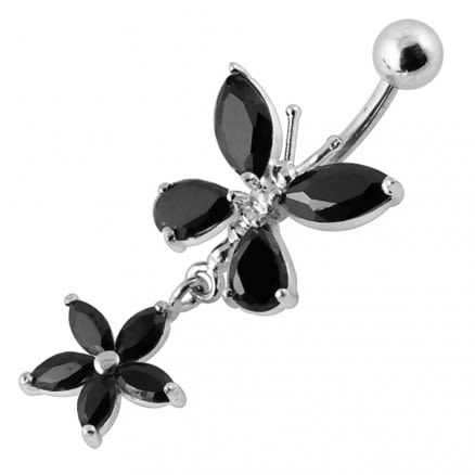 Jeweled Butterfly With Flower SS Banana Bar Navel Ring