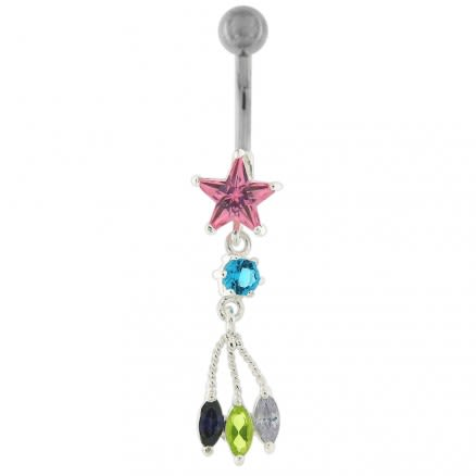Trendy Dangling Jeweled Navel Ring