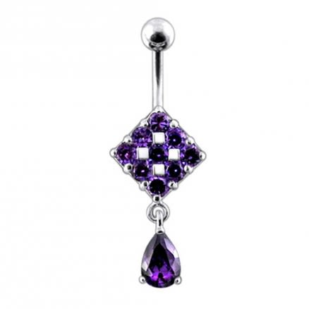Trendy Surgical Grade Steel Curved Bar Moving Jeweled Belly Ring