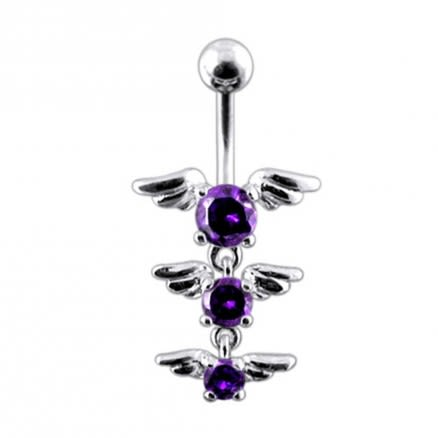 Multi Stones Moving Fancy Curved Bar Belly Ring