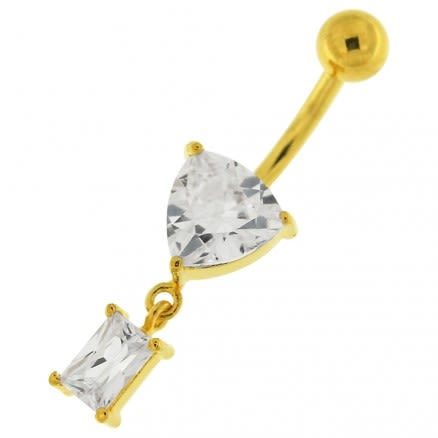 Jeweled Heart Navel Belly Piercing jewelry