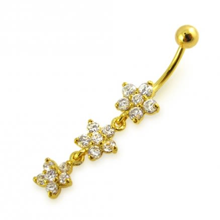 14G 10mm Yellow Gold Platted 925 Sterling Silver Clear Triple Flower Belly Ring