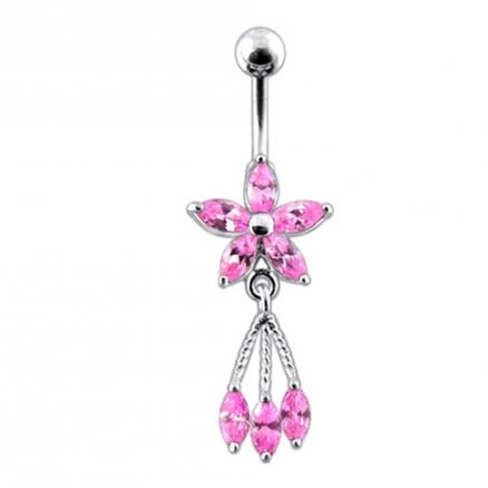 Moving Jeweled Flower Shaped Navel Body Jewelry