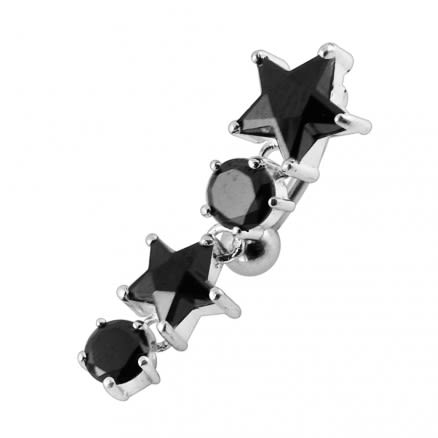 Moving Jeweled Stars Shaped Navel Body Jewelry