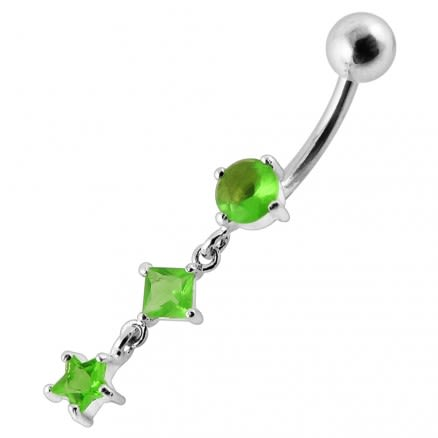 Fancy Silver Dangling Jeweled SS Navel Ring Body Jewelry