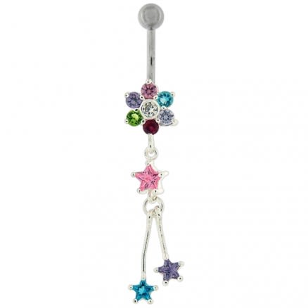 Moving Jeweled Flower and Star Shaped Belly Ring