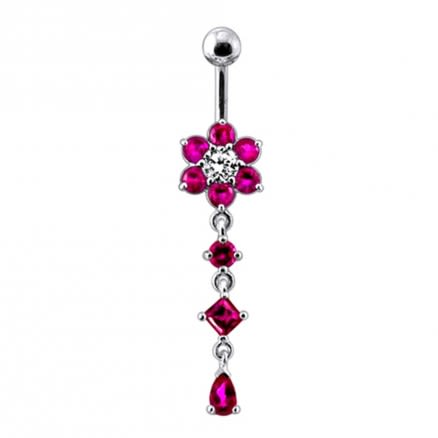 Dangling Jeweled Flower Belly Bar