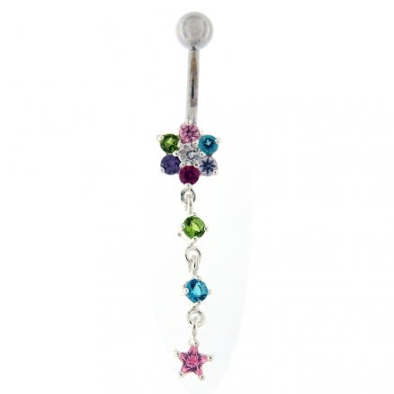 Moving Jeweled Flower Design Banana Bar Navel Ring