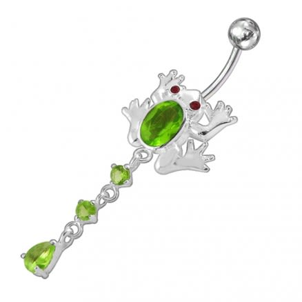Moving Jeweled Frog Design Belly Ring