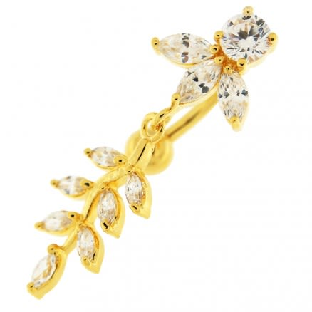 14G 10mm Yellow Gold Platted Silver Clear Jeweled Design Moving Belly Ring