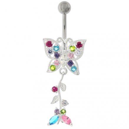 Fancy Moving Butterfly Navel Ring