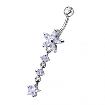 Jeweled Moving Flower Design Belly Ring