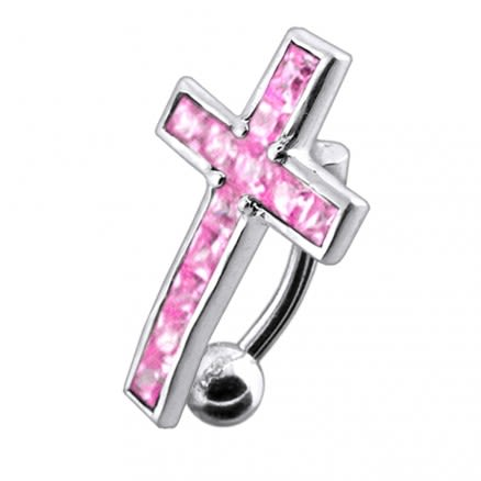 Jeweled Fancy Cross Design Belly Ring