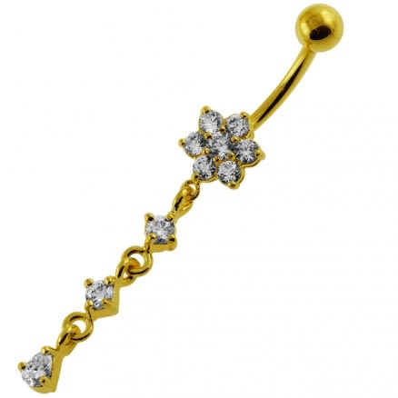 14G 10mm Yellow Gold Platted Silver Clear Jeweled Moving Flower Belly Ring
