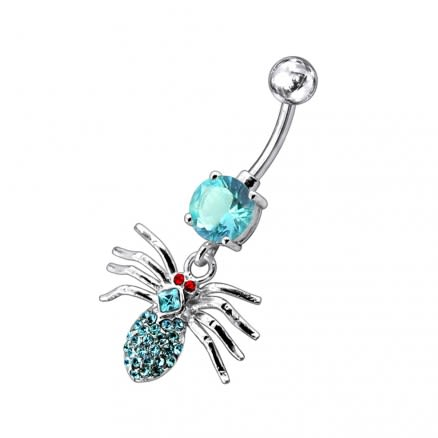 Jeweled Moving Spider Navel Ring