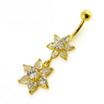 14G 10mm Yellow Gold Platted Silver Clear Jeweled Flowers Design Belly Ring