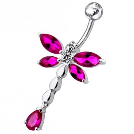 Moving Jeweled Flower Belly Button Jewelry