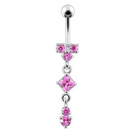 Moving Fancy Jeweled Banana Bar Navel Ring Body jewelry