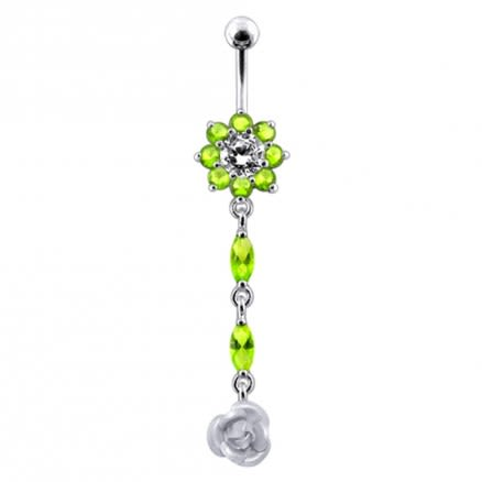 Moving Flower with Gems Stones Banana Navel Ring