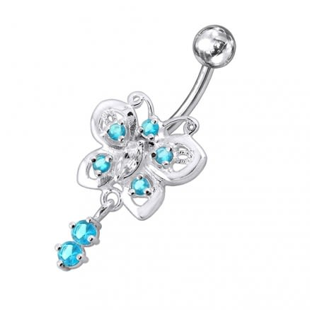 Moving fancy Jeweled Butterfly Curved Navel Ring