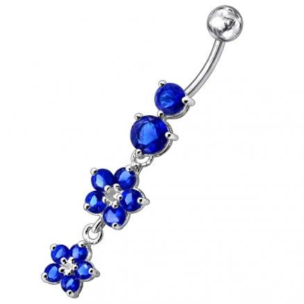 14 Gauge Moving Jeweled Flower Design Navel Ring