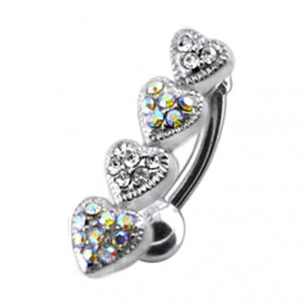 Four Jeweled Hearts Design Navel Ring