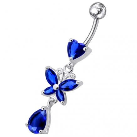 Moving Fancy Designed Jeweled Navel Ring