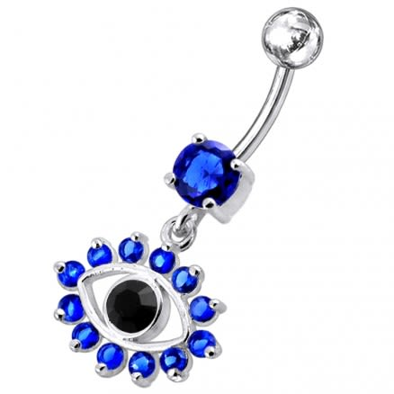 Blue Eye Catching Stone Studded 925 Sterling silver Belly Ring