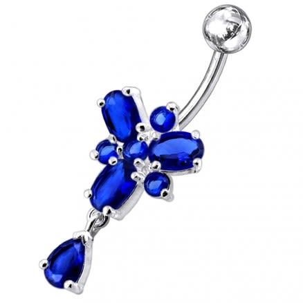Ocean Blue Stone Studded SS Curved Bar Belly Ring
