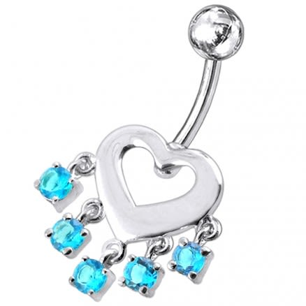 Heart Shape Red Stone Studded Dangling Belly Ring