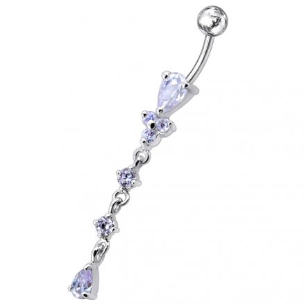 Moving Silver belly Ring With SS Curved Bar