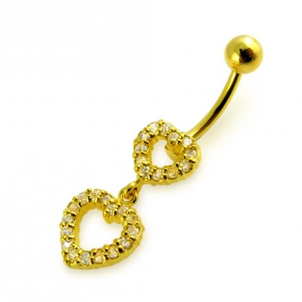 14G 10mm Yellow Gold Platted 925 Sterling Silver Clear Jeweled Double Heart Belly Ring