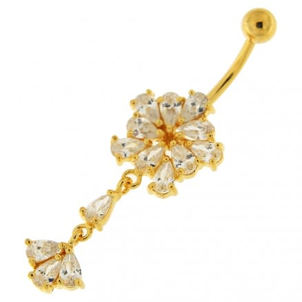 14G 10mm Yellow Gold Platted Silver Clear Jewel Flower Dangling Belly Ring